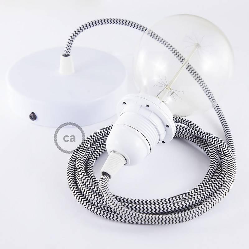 Pendel para pantalla, lámpara colgante cable textil ZigZag Negro RZ04