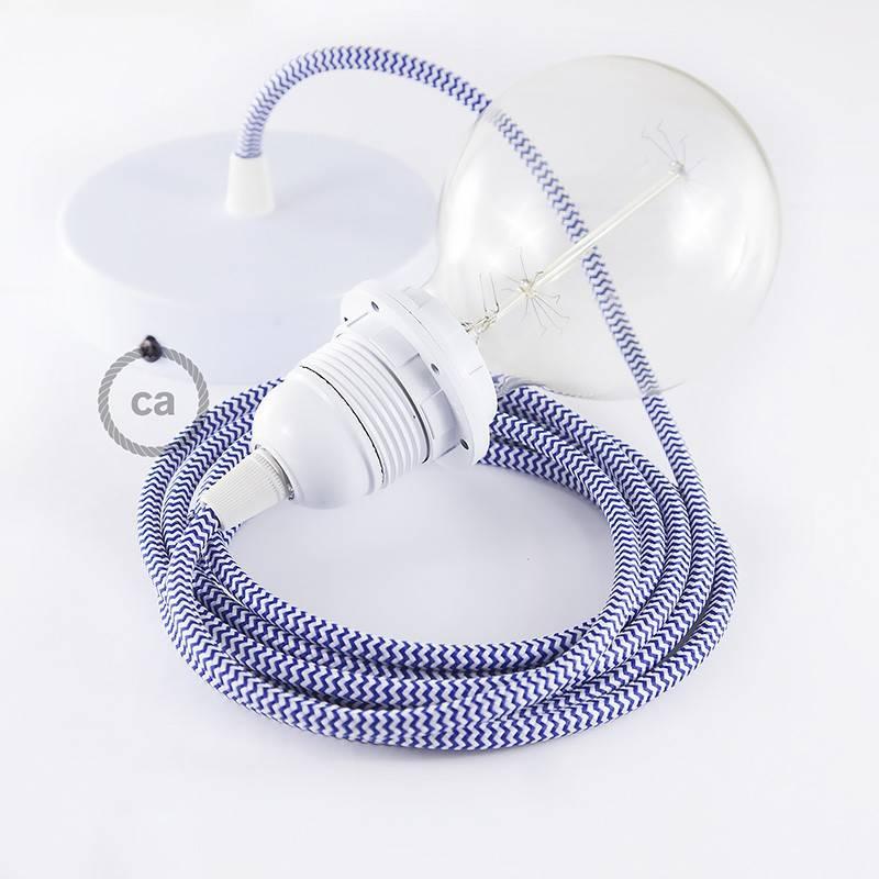 Pendel para pantalla, lámpara colgante cable textil ZigZag Azul RZ12