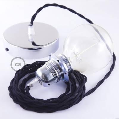 Pendel para pantalla, lámpara colgante cable textil Negro en Algodón TC04
