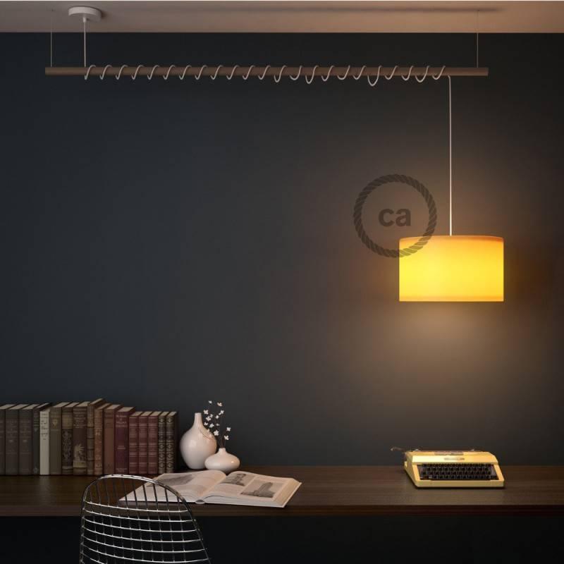 Pendel para pantalla, lámpara colgante cable textil Plateado en tejido Efecto Seda TM02