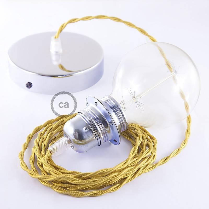 Pendel para pantalla, lámpara colgante cable textil Dorado en tejido Efecto Seda TM05