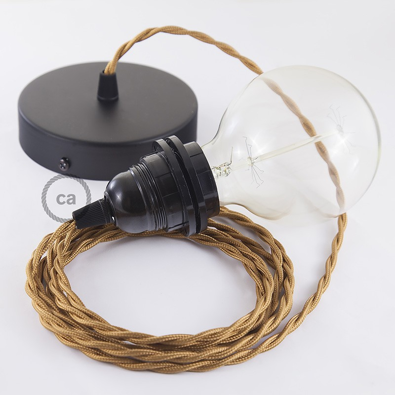 Pendel para pantalla, lámpara colgante cable textil Whiskey en tejido Efecto Seda TM22