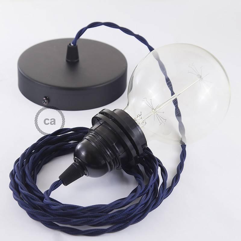Pendel para pantalla, lámpara colgante cable textil Azul Marino en tejido Efecto Seda TM20