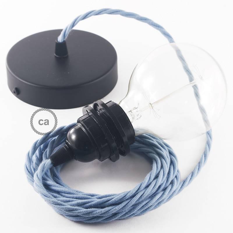 Pendel para pantalla, lámpara colgante cable textil Oceano en Algodón TC53