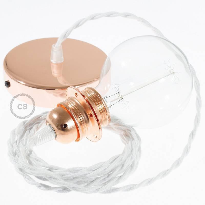 Pendel para pantalla, lámpara colgante cable textil Blanco en Algodón TC01