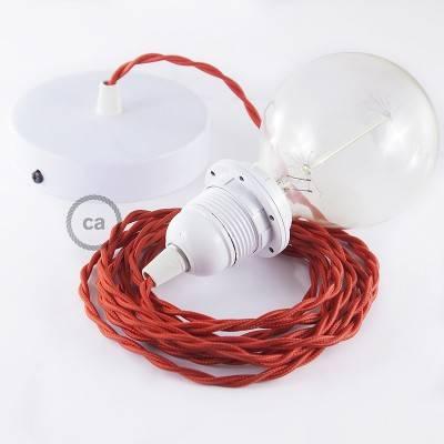 Pendel para pantalla, lámpara colgante cable textil Rojo en tejido Efecto Seda TM09
