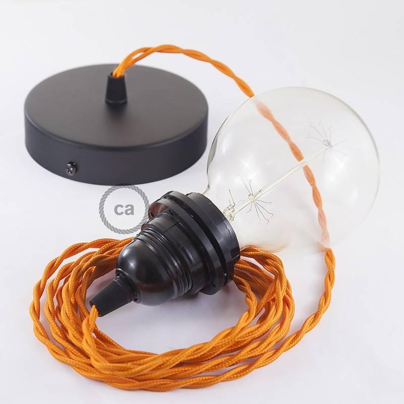 Pendel para pantalla, lámpara colgante cable textil Naranja en tejido Efecto Seda TM15