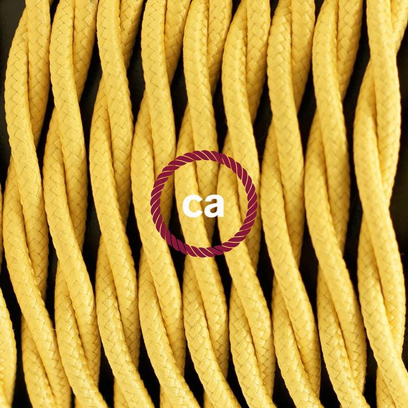 Pendel para pantalla, lámpara colgante cable textil Amarillo en tejido Efecto Seda TM10