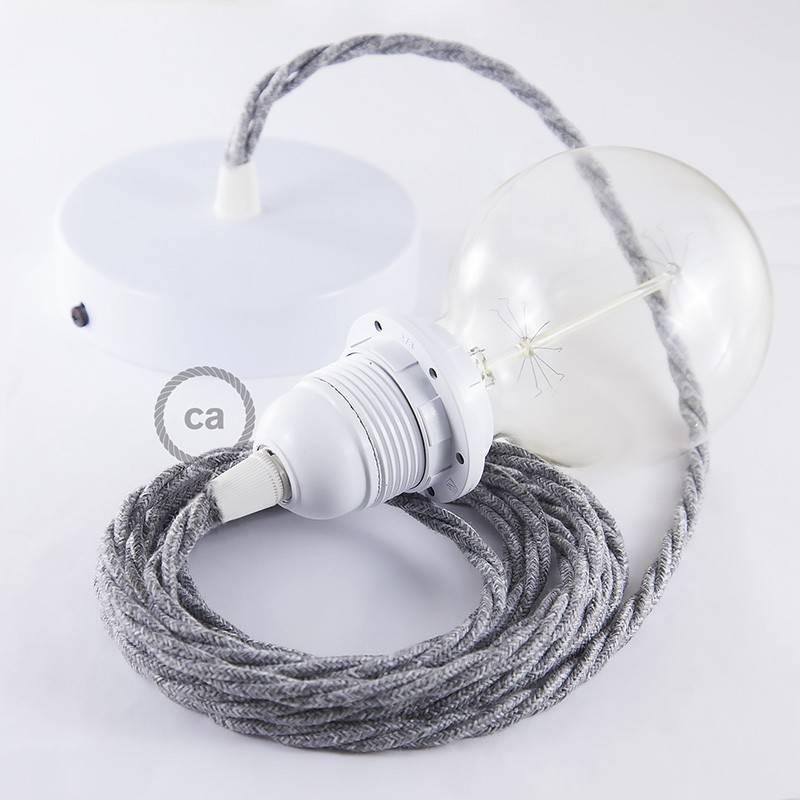 Pendel para pantalla, lámpara colgante cable textil Gris en Lino Natural TN02