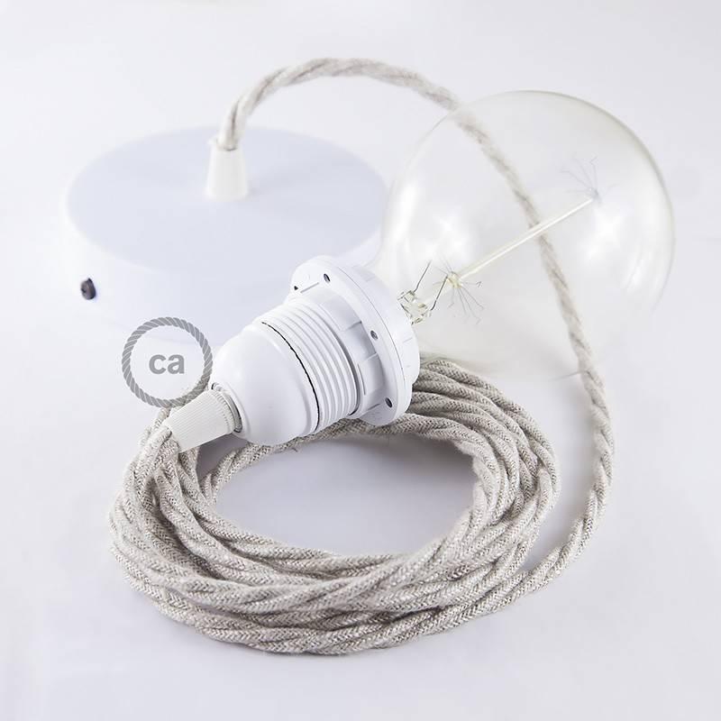 Pendel para pantalla, lámpara colgante cable textil Neutro en Lino Natural TN01