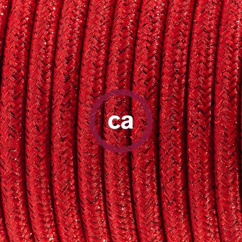 Pendel para pantalla, lámpara colgante cable textil Rojo Glitter RL09