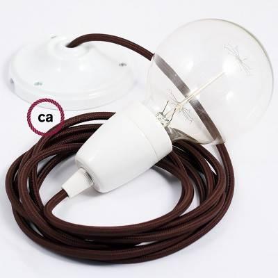 Pendel en porcelana, lámpara colgante cable textil Marrón en tejido Efecto Seda RM13