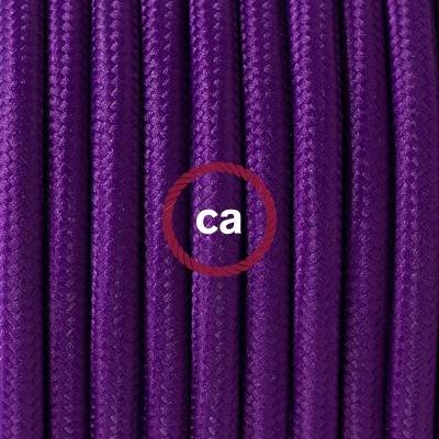 Pendel en porcelana, lámpara colgante cable textil Púrpura en tejido Efecto Seda RM14