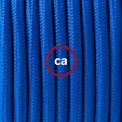 Pendel en porcelana, lámpara colgante cable textil Azul en tejido Efecto Seda RM12
