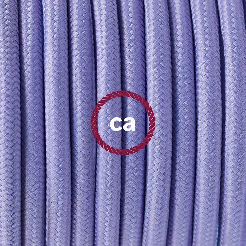 Pendel en porcelana, lámpara colgante cable textil Lila en tejido Efecto Seda RM07