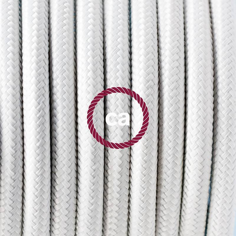 Pendel en porcelana, lámpara colgante cable textil Blanco en tejido Efecto Seda RM01