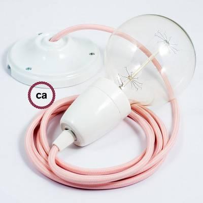 Pendel en porcelana, lámpara colgante cable textil Rosa Baby en tejido Efecto Seda RM16