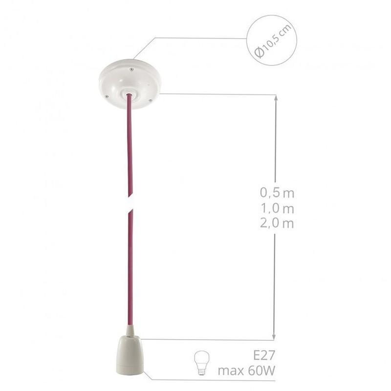 Pendel en porcelana, lámpara colgante cable textil Fuchsia en tejido Efecto Seda RM08
