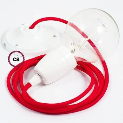 Pendel en porcelana, lámpara colgante cable textil Rojo en tejido Efecto Seda RM09