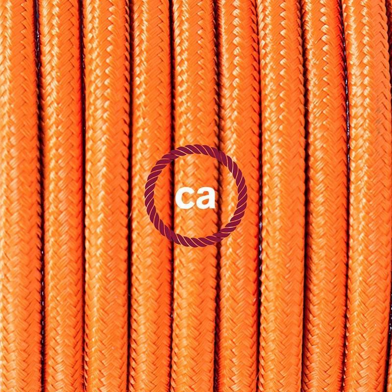 Pendel en porcelana, lámpara colgante cable textil Naranja en tejido Efecto Seda RM15