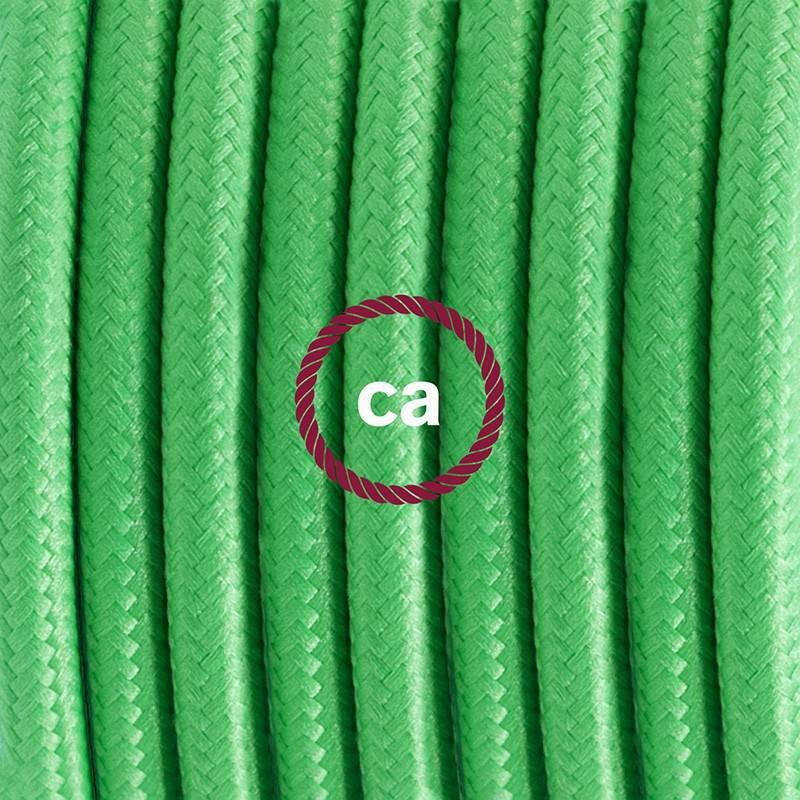 Pendel en porcelana, lámpara colgante cable textil Verde Lima en tejido Efecto Seda RM18