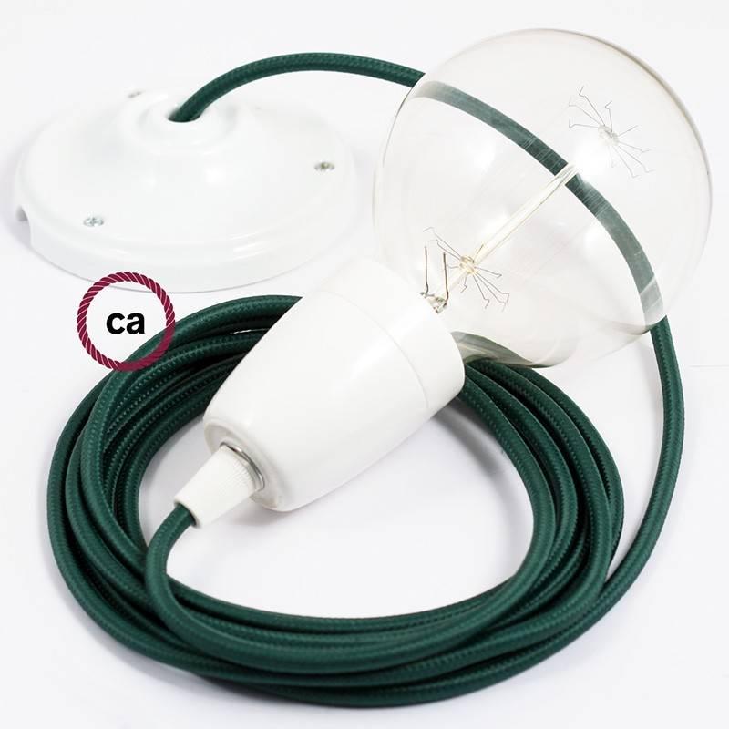 Pendel en porcelana, lámpara colgante cable textil Verde Oscuro en tejido Efecto Seda RM21