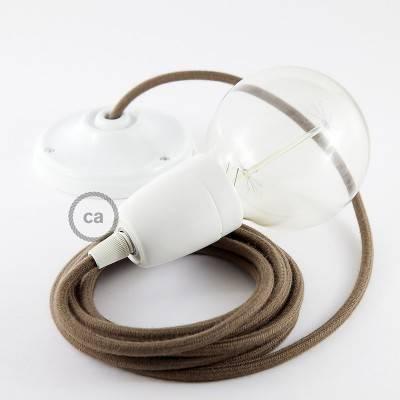 Pendel en porcelana, lámpara colgante cable textil Marrón en Algodón RC13
