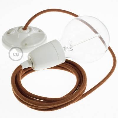 Pendel en porcelana, lámpara colgante cable textil Ciervo en Algodón RC23