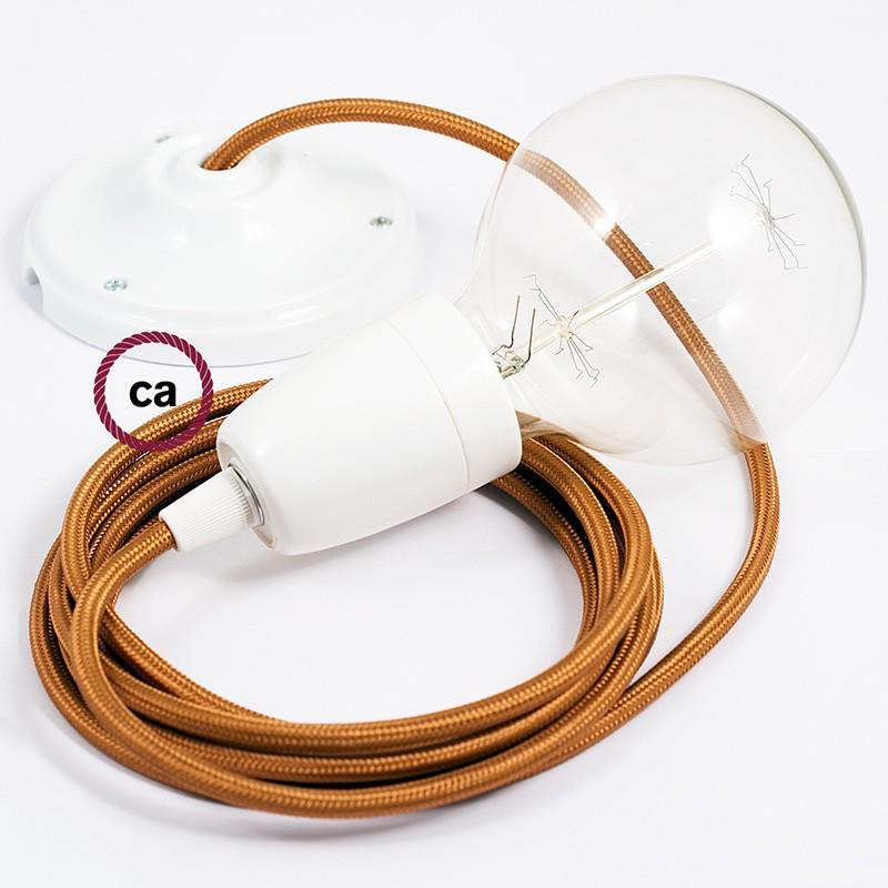 Pendel en porcelana, lámpara colgante cable textil Whiskey en tejido Efecto Seda RM22