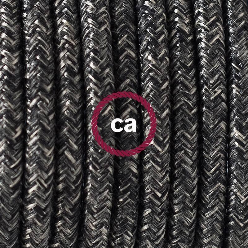 Pendel en porcelana, lámpara colgante cable textil Antracita en Lino Natural RN03