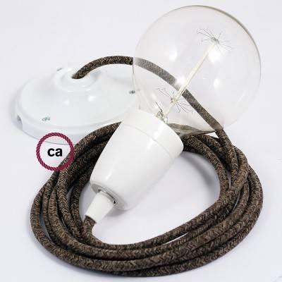 Pendel en porcelana, lámpara colgante cable textil Marrón en Lino Natural RN04