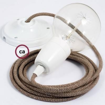 Pendel en porcelana, lámpara colgante cable textil ZigZag Corteza RD73