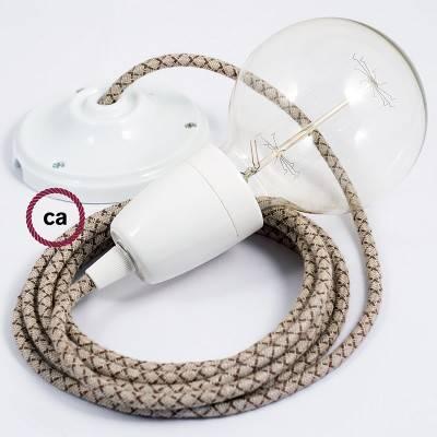 Pendel en porcelana, lámpara colgante cable textil Rombo Corteza RD63