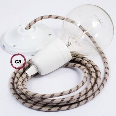 Pendel en porcelana, lámpara colgante cable textil Stripes Corteza RD53
