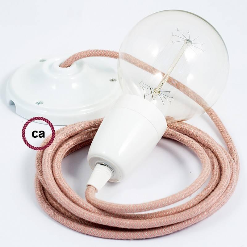 Pendel en porcelana, lámpara colgante cable textil ZigZag Rosa Antico RD71