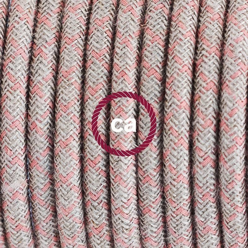 Pendel en porcelana, lámpara colgante cable textil Rombo Rosa Antico RD61