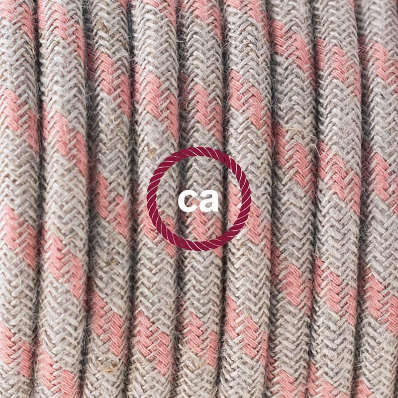 Pendel en porcelana, lámpara colgante cable textil Stripes Rosa Antico RD51