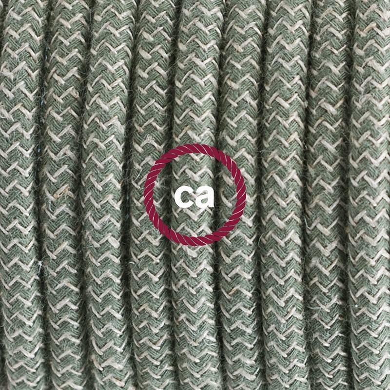 Pendel en porcelana, lámpara colgante cable textil ZigZag Verde Tomillo RD72