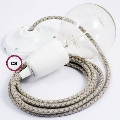 Pendel en porcelana, lámpara colgante cable textil Rombo Verde Tomillo RD62