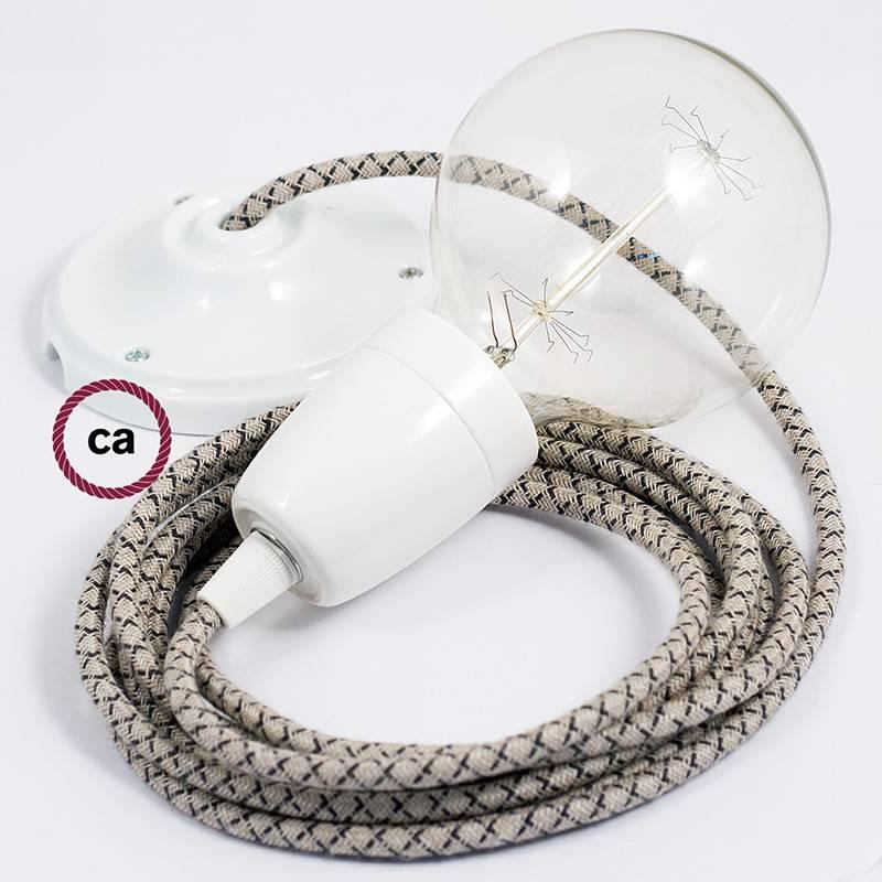Pendel en porcelana, lámpara colgante cable textil Rombo Antracita RD64