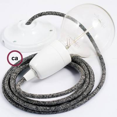 Pendel en porcelana, lámpara colgante cable textil Negro Glitter en Lino Natural RS81