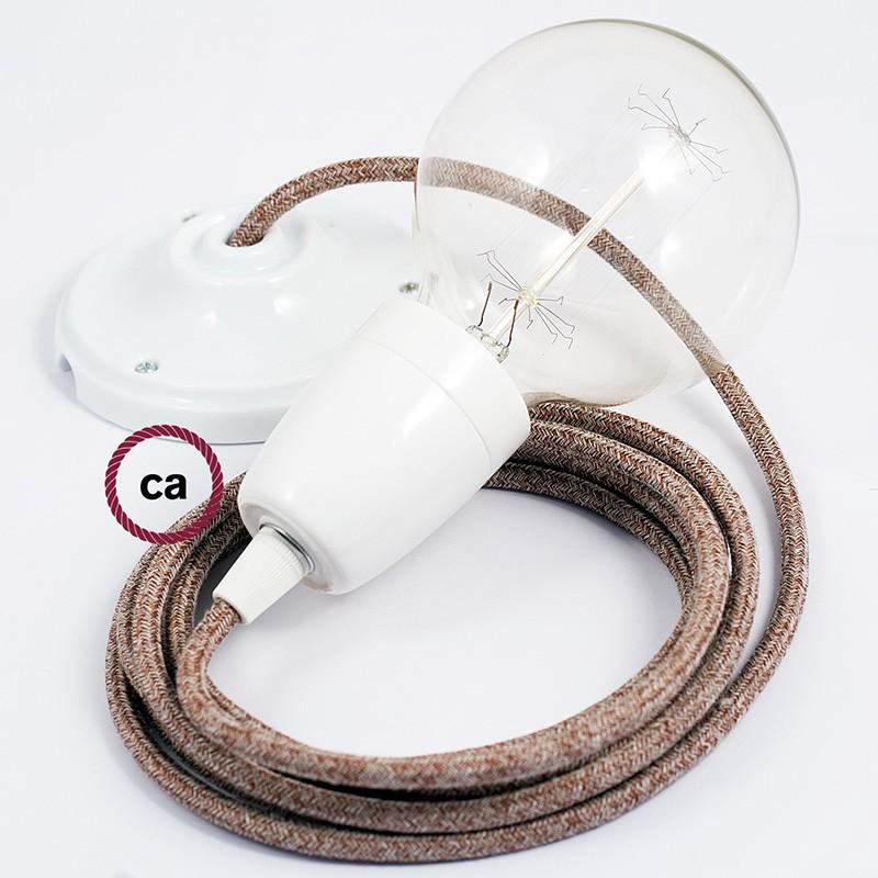 Pendel en porcelana, lámpara colgante cable textil Marrón Glitter en Lino Natural RS82