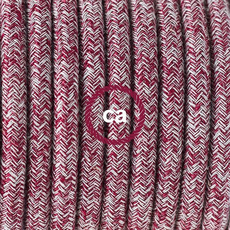 Pendel en porcelana, lámpara colgante cable textil Rojo Glitter en Lino Natural RS83
