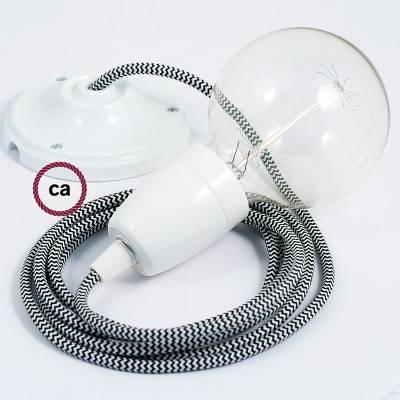 Pendel en porcelana, lámpara colgante cable textil ZigZag Negro RZ04