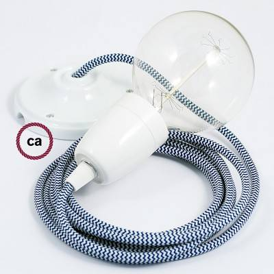Pendel en porcelana, lámpara colgante cable textil ZigZag Azul RZ12