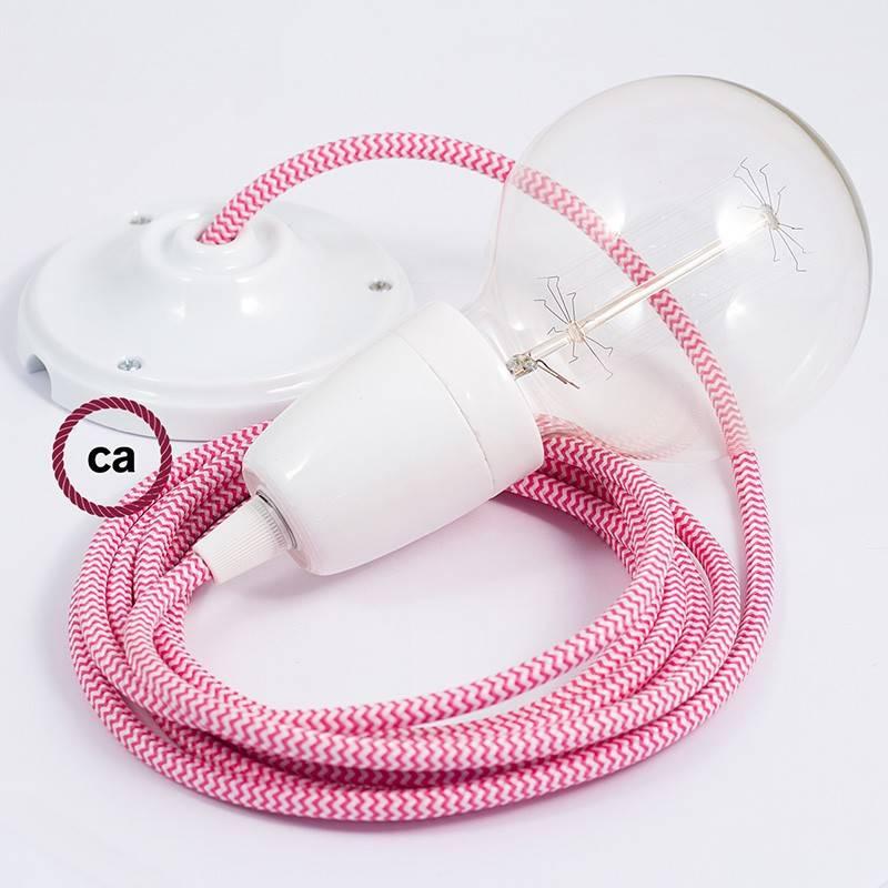 Pendel en porcelana, lámpara colgante cable textil ZigZag Fuchsia RZ08