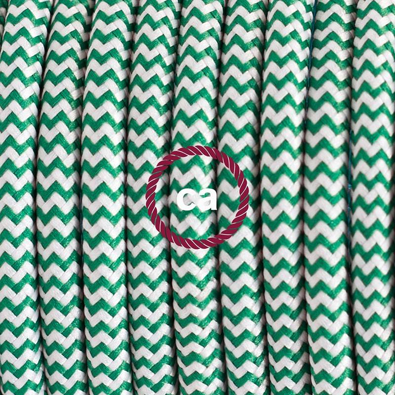 Pendel en porcelana, lámpara colgante cable textil ZigZag Verde RZ06