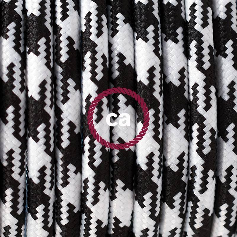 Pendel en porcelana, lámpara colgante cable textil Bicolor Negro RP04