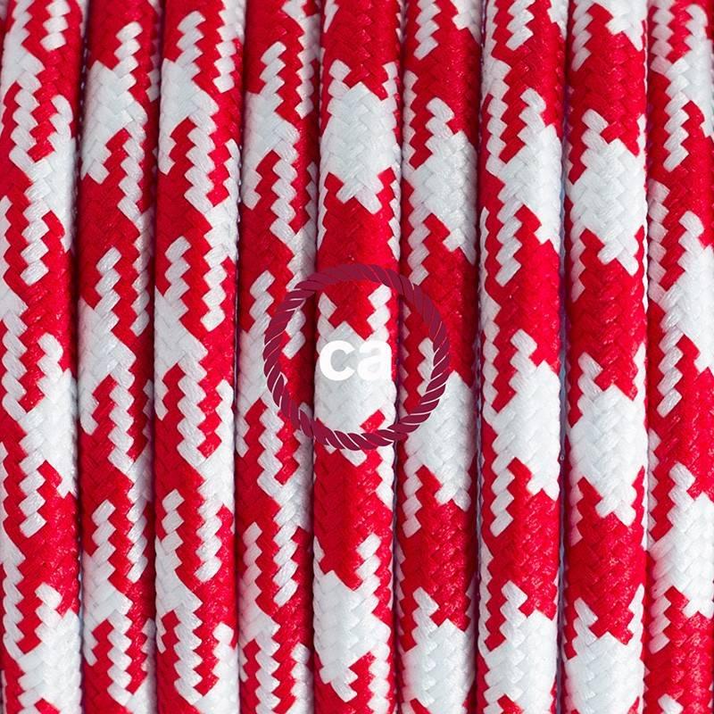 Pendel en porcelana, lámpara colgante cable textil Bicolor Rojo RP09