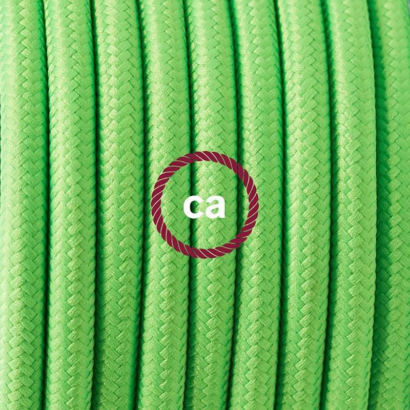 Pendel en porcelana, lámpara colgante cable textil Verde Fluo RF06